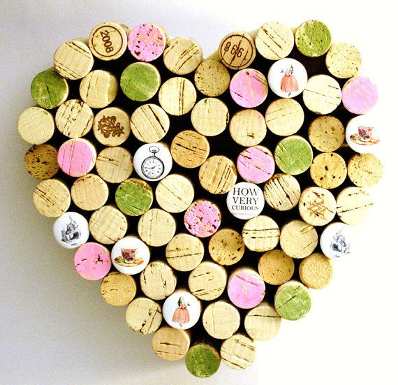 Corkboard - Alice in Wonderland Heart - Recycled Wine Corks by Uncorked - Pink and Green