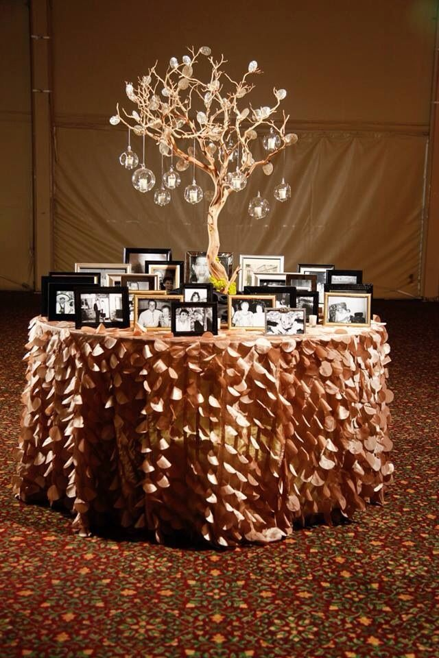 Memory Table. I also think it'd be great as a graduation table in school colors and school pictures from every year hanging from the tree