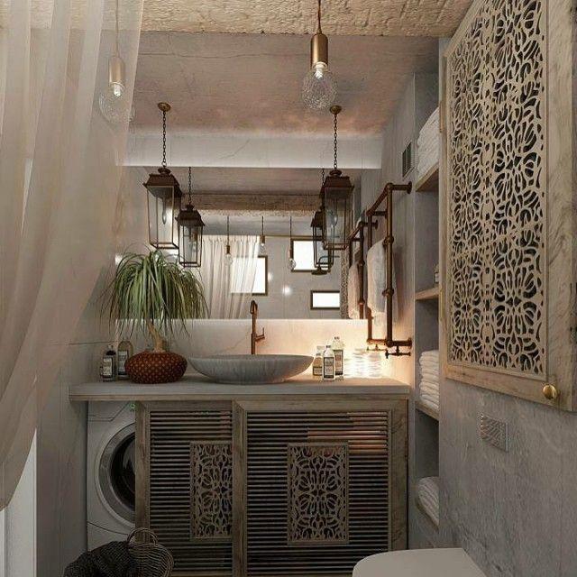"""""""What a beautiful bathroom! The washer storage is super clever! Banheiro belo! Adorei o lugar da maquina de lavar, portas maravilhosas de correr!…"""""""