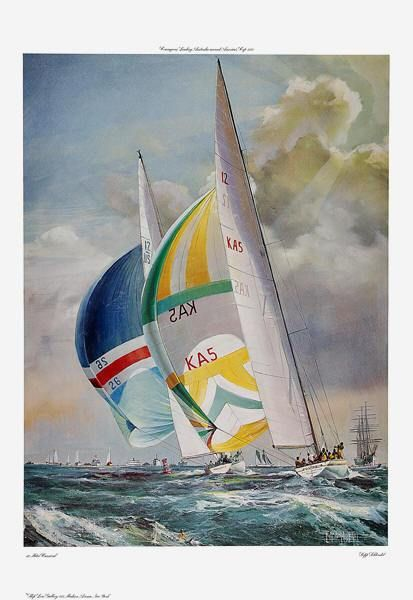 Quot 12 Meter Carnival Courageous Leading Australia Quot ›�️ Boote ›�️ Cup Art Nautical Art Painting