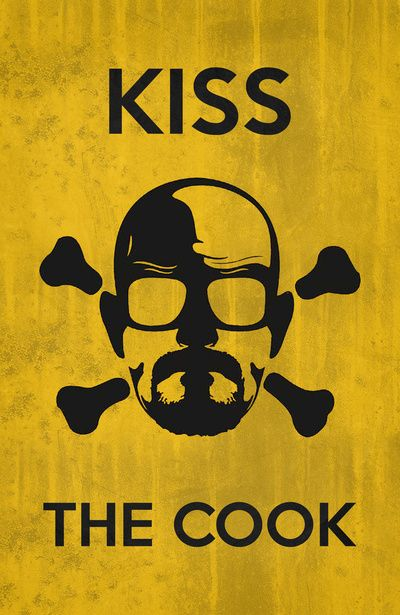 I want this for my kitchen. So easy to make, I think I would do the background in blue though, like his meth. breaking bad, addicted to this show but I would not kiss him! Lol