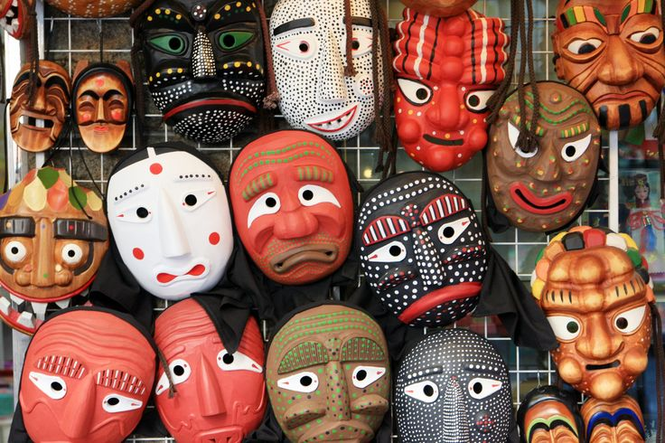 Andong Hahoe masks are traditional Korean masks that are made of wood
