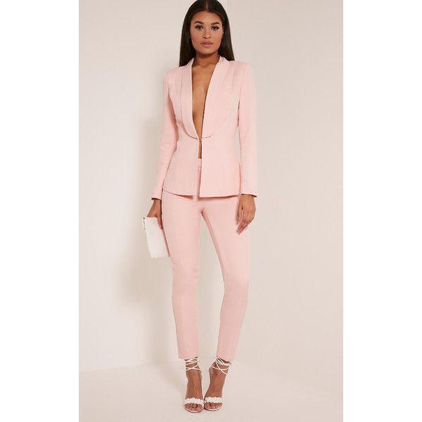Avani Pink Suit Trousers ($23) ❤ liked on Polyvore featuring pants, pink, pink dress pants, slacks pants, dress pants, suit pants and pink trousers