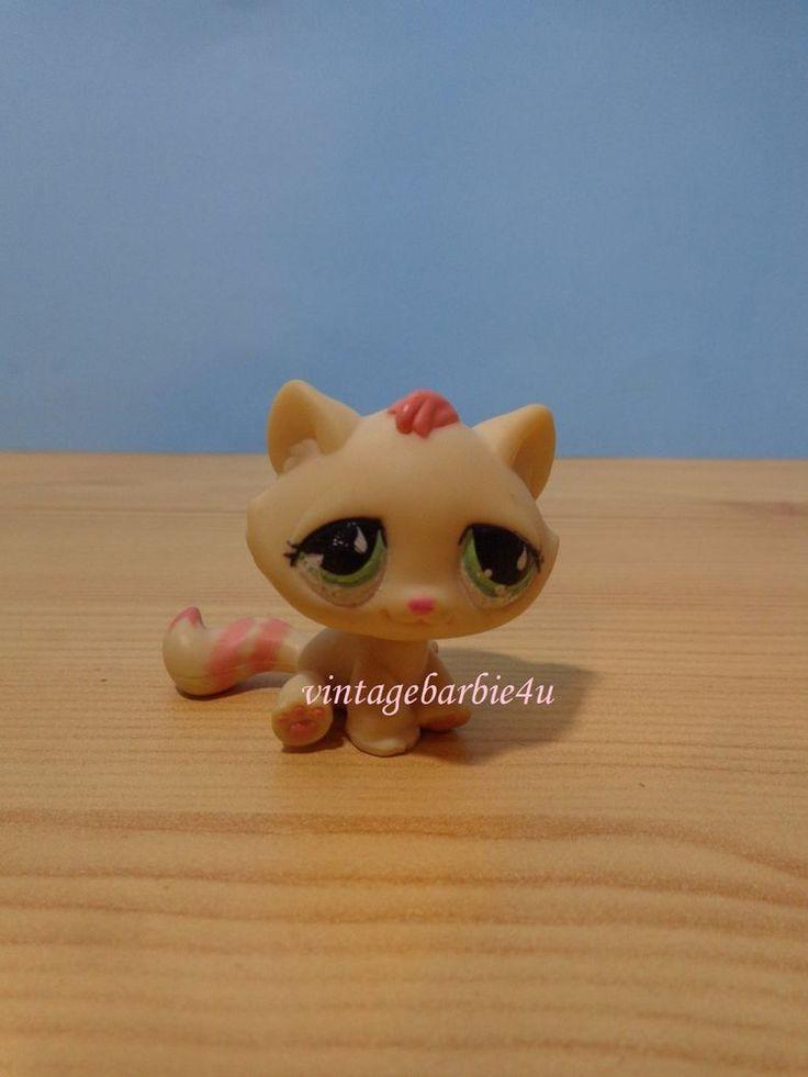 Littlest Pet Shop LPS #706 Cat Ginger Tabby Pink Stripe Tail Green Teardrop Eye #Hasbro