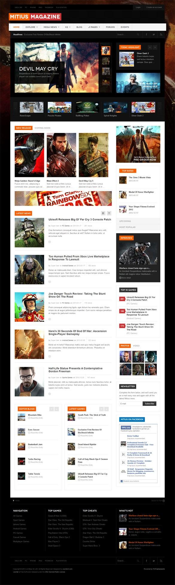 JA Mitius, Joomla Magazine News Portal Template