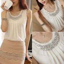 Nuevo Para Mujer Sexy De Encaje Blanco Verano Sueltos Tops Moda Casual Camiseta Blusa Hot