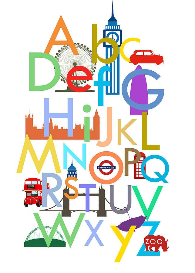 children's london alphabet print by hello monkey | notonthehighstreet.com