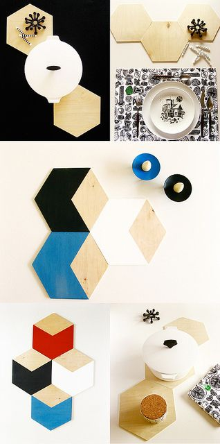 Make hexagonal trivets from remnant pieces of plywood.