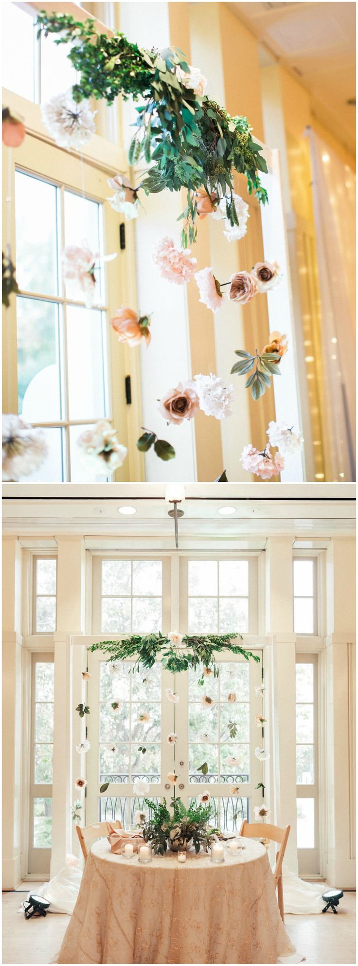 Indoor wedding reception, sweetheart table, suspended flowers, wedding decor ideas, pink tablecloth, follow this board for more wedding reception inspiration // Noi Tran Photography