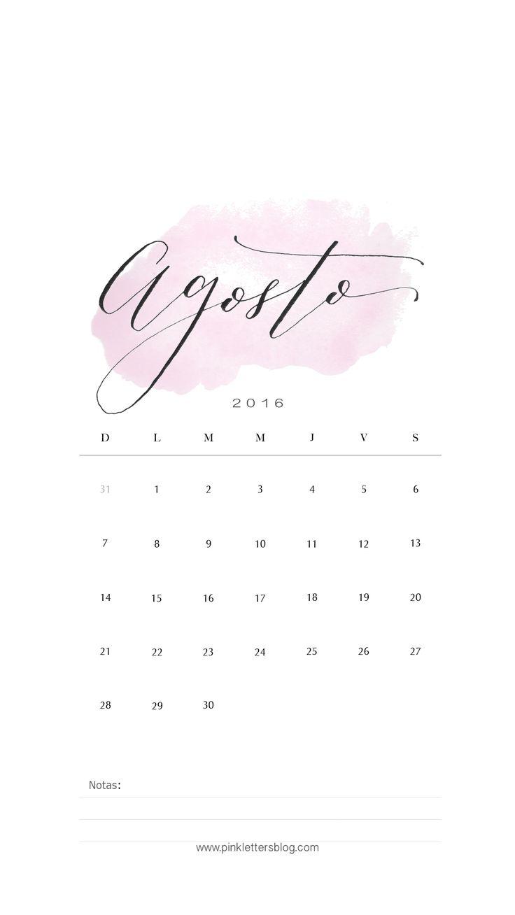 Lockscreen Calendario Agosto 2016