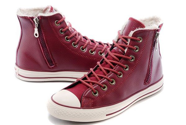 4e2ba75c208efd Converse Wine Claret Red Leather Velvet Winter Side Zip Chuck Taylor All  Star High Tops Sneakers