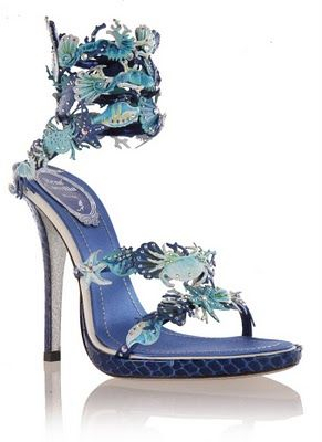 "Now this is a ""something blue"" we can get behind! Rene Caovilla, ocean treasures shoe."