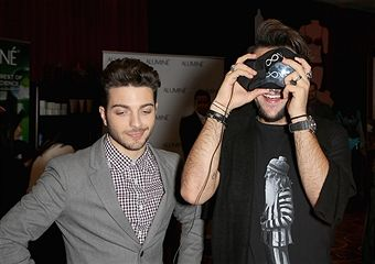 Singers Gianluca Ginoble (L) and Ignazio Boschetto of Il Volo attend the gift lounge during the 16th Latin GRAMMY Awards at the MGM Grand Garden Arena on November 16, 2015 in Las Vegas, Nevada.