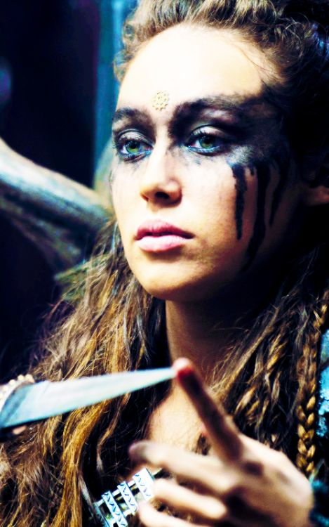 Alycia Debnam Carey as Lexa, leader of the Grounders (after Anya was killed). The 100. 2015