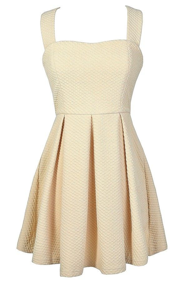 Sugar Cookie Beige Fit and Flare Dress  www.lilyboutique.com