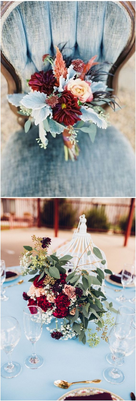 Dusty blue and burgundy wedding color palette idea / http://www.deerpearlflowers.com/dusty-blue-wedding-color-combos/ #weddingcolors #weddingideas #bluewedding #dustyblue