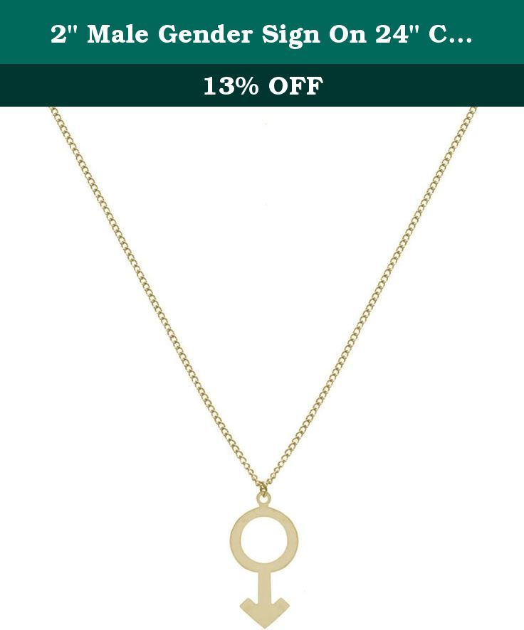 """2"""" Male Gender Sign On 24"""" Chain, USA!, in Gold Tone. Lead Free Hypoallergenic."""
