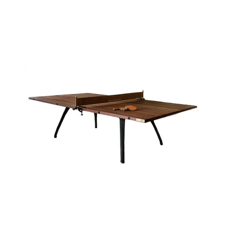 Industrial meets contemporary, solid wood ping-pong game table Features a solid, reclaimed hardwood tabletop with a smooth finish that highlights the natural wood-grain patterns Includes a blackened s