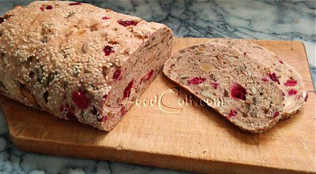 #Rustic Beauty: #homemade, of course this 65 % #organic #WholeWheat #loaf is enhanced with my favourite #fiber boosters - #wheat #bran and #germ and #psyllium! It is abundant with #tangy #unsweetened #cranberry, #unsalted #cashew #nuts and #pumpkin + #sunflower #seeds #baked in and has a rich #sesame #crust. Beautiful with just #butter, a slab of #cheese or a bit of your favourite #nut spread.  Learn to #bake #bread at home. Check out our basic #recipes @ http://www.foodcult.com/breads.php