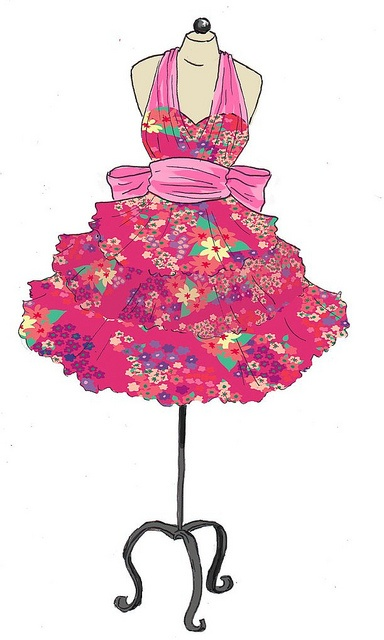 Print design and dress illustration by Lillian Gottwald http://lilliangottwaldart.jimdo.com/textile-design/
