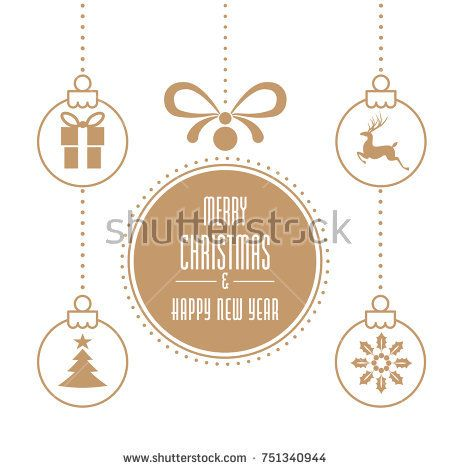 Various hanging Christmas ornaments with text Merry Christmas and Happy New Year on White Background. Greeting Card Template.