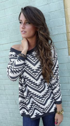 Cozy Aztec Sweater in Charcoal http://shoptherage.com/collections/tops/products/cozy-aztec-sweater-in-charcoal