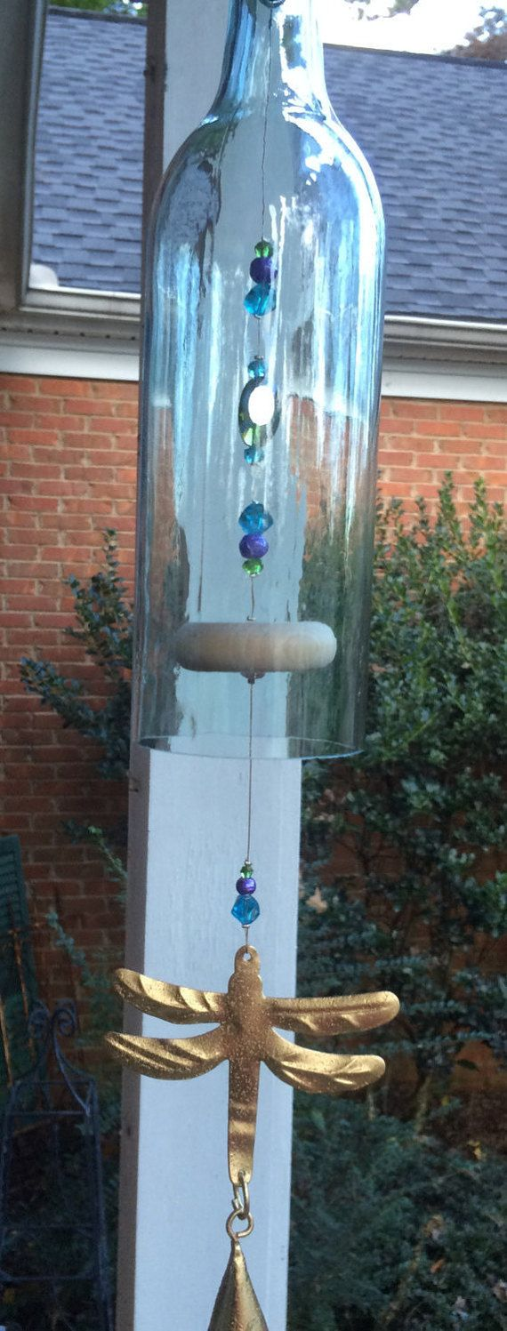 Dragonfly Wine Bottle Wind Chime by GreenGoddessGlass on Etsy