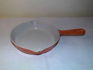 Poêle Casserole en fonte - LE CREUSET - diam 16 cm - volcanic orange - Bon état  | eBay