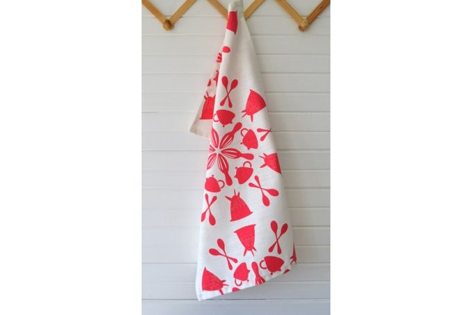 In-a-Spin Tea Towel in Raspberry by i Spy