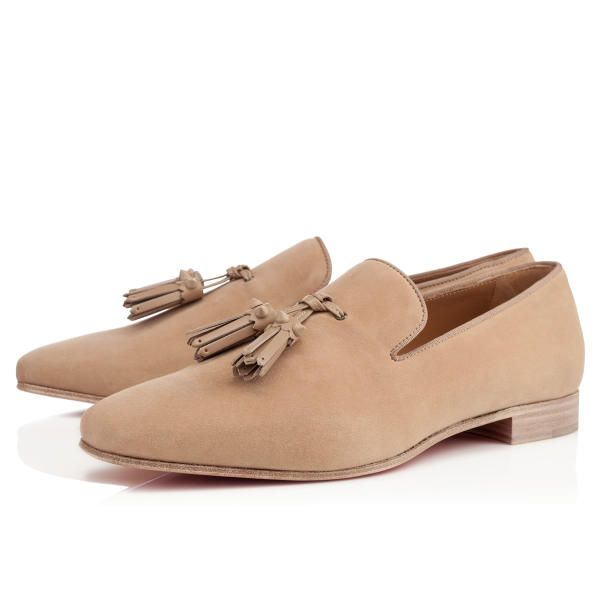 Christian Louboutin Dada Flat Beige Suede Mens-Loafers