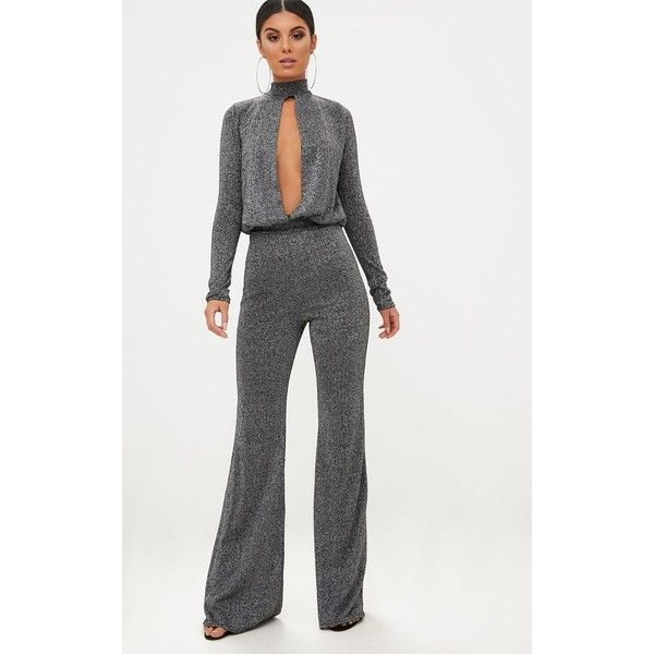 Grey Metallic Keyhole Cut Out Jumpsuit ($29) ❤ liked on Polyvore featuring jumpsuits, grey, grey jumpsuit, metallic jumpsuit, party jumpsuits, keyhole jumpsuit and gray jumpsuit