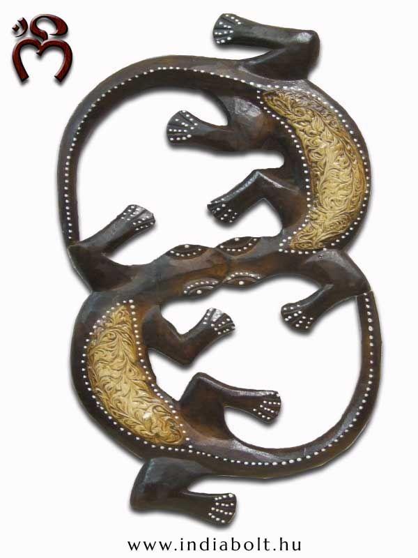 ॐ NAMASTE ॐ Különleges #egyedi kézimunka, dupla, festett  fa fali #gekkó hagyományos motívumokkal, puha #illatos fából.  -gecko in pairs- www.indiabolt.hu ॐ