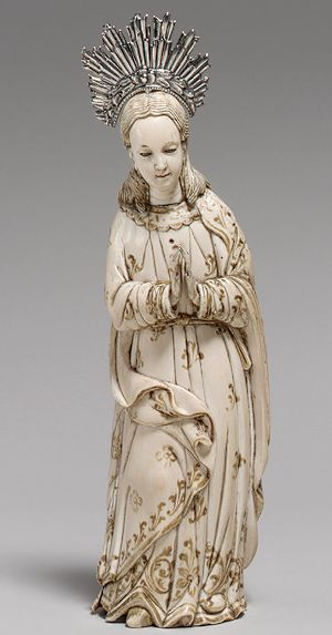 Virgin of the Immaculate Conception, 18th century, Hispano-Philippine, Ivory with glass eyes and silver halo.