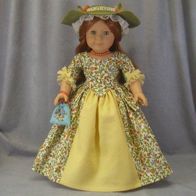 FALL-FANCY-Green-Colonial-Dress-amp-Hat-7-pc-SET-Felicity-American-Girl-doll