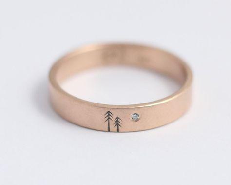 Woodland Ring with Single Diamond in Rose Gold – Medium