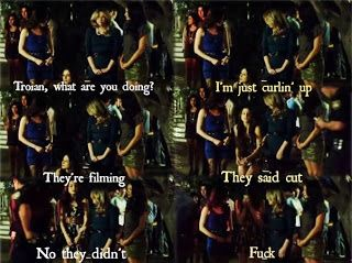 Pretty Little Liars Theories: PLL: Bloopers scene edits Only Troian would say this behind the scenes