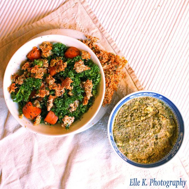 KALE, WALNUT & SWEETPOTATO SALAD — yummy and nutritious vegan lunch bliss in a bowl!