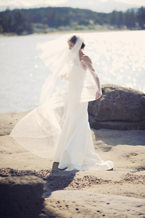 Beauty of the scenery surpassed only by the beauty of the bride! Pacific Shores wedding photography by Erin Wallis Photography (Nanoose Bay - near Parksville on Vancouver Island)