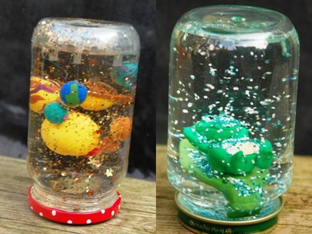 Homemade Snow Globes: They'll give you the perfect opportunity to get rid of some of those pesky plastic figurines lying around the house.