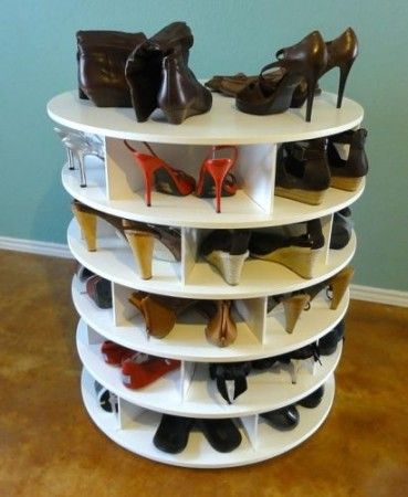 Love this idea for storing shoes. You could upcycle cable spool to achieve this result. Unique shoe rack ideas to keep shoes organise   InteriorFans.com