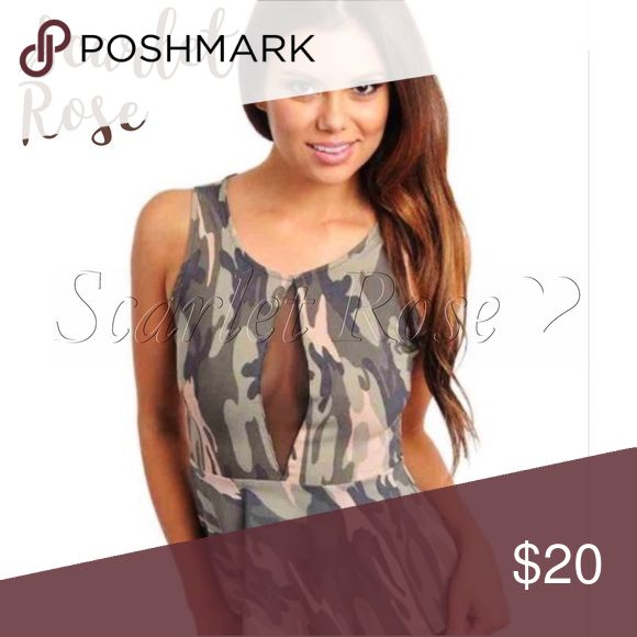 🌹BRAND NEW Camo Tank w/Mesh and Zipper in Back🌹 I bought this brand new from another great Posher, and I just never wore it. It is super cute tho! It has mesh detail in the front with a zipper in back and a darling peplum style. Looks great with jeans, boots, and a jacket over it. This top has never been worn and is in perfect condition.. More modeled pics to come. Let me know if you have any questions in the meantime! Happy Poshing, my friends! 😘 Scarlet Rose Boutique Tops Tank Tops