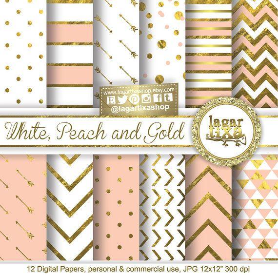 Oro Papel Digital Rosa Palido Blanco Durazno por LagartixaShop
