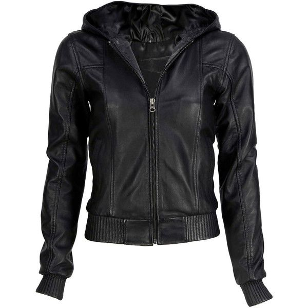 VIPARO Black Hooded Bomber Lambskin Leather Jacket - Hoodwink found on Polyvore