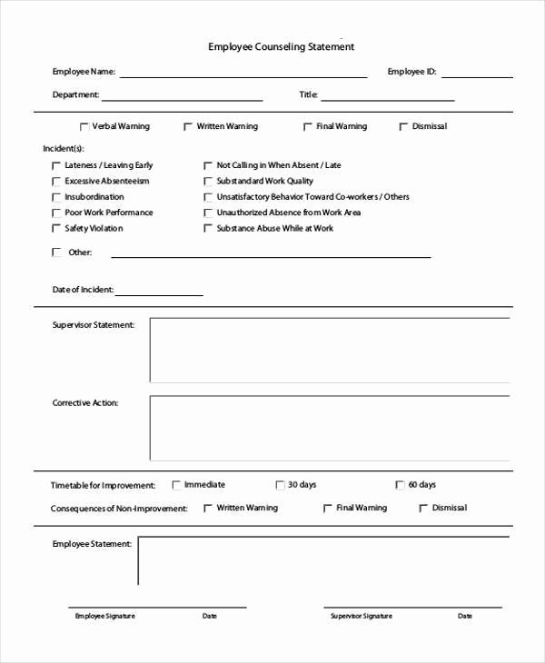 Employee Counseling Form Sample Inspirational Free 7 Employment Statement Form Samples In Sample Counseling Forms Counseling Doctors Note