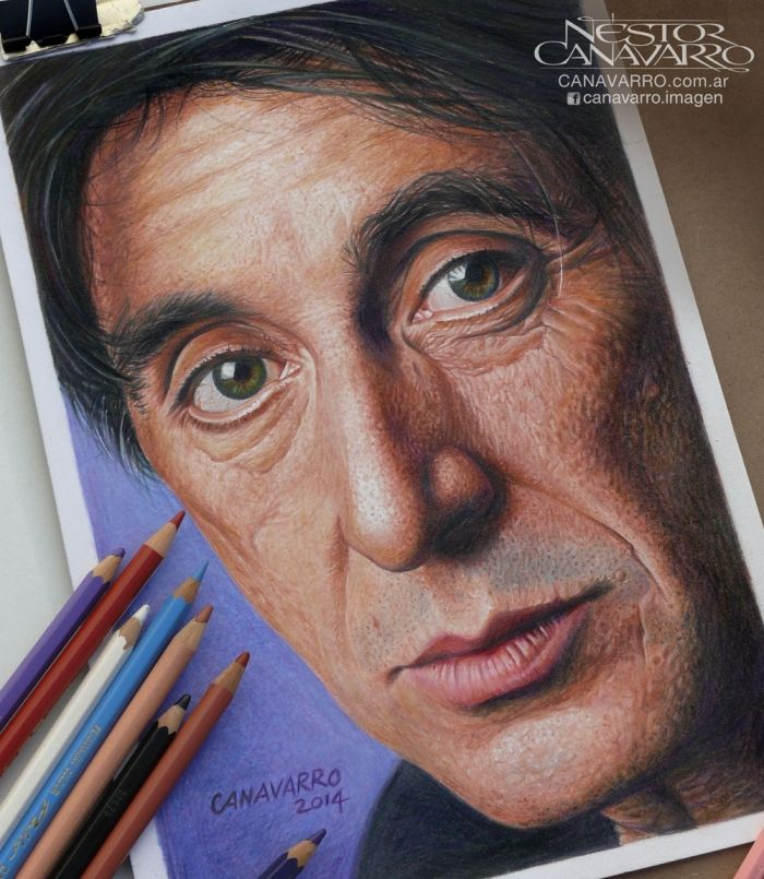 """""""Al Pacino"""" Color pencils Faber Castell Polychromos and Caran d'Ache Pablo  on Fabriano paper 160 gr. - 21 x 30 cm. - About 35 hours of work..."""