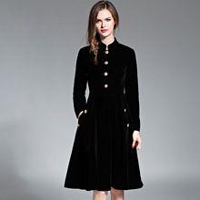 Elegant Black Velvet Dress Winter Dresses Women 2017 Vestido Vintage Long Sleeve Ladies Dresses Tunique Femme Dames Jurken 72990(China (Mainland))