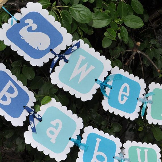 Baby Shower Banner Whale Theme By Sosweetpartyshop, $25.00