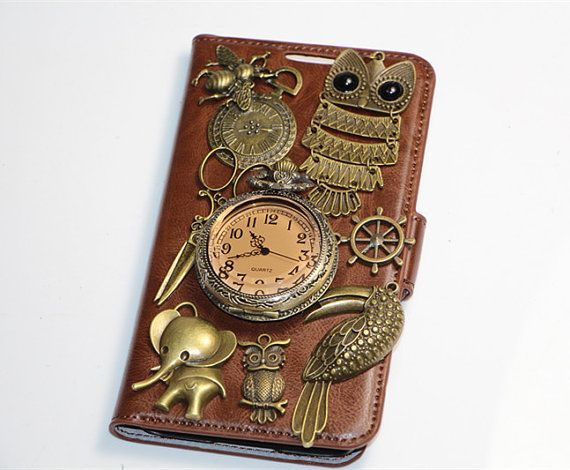 steampunk clock owl samsung galaxy s5 wallet case,samsung galaxy s5 flip case,samsung galaxy s5 cover,wallet case for samsung galaxy s5....heb em besteld :)