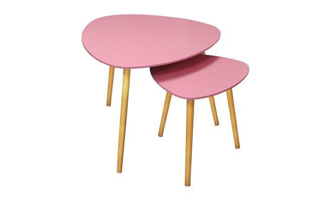 "2 tavolini estraibili ""Sixties""  rosa  60 x 60 x 48 cm e 40 x 40 x 40 cm"