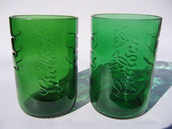 Grolsch Lager Recycled Emerald Beer Bottle Glasses - Set of 2